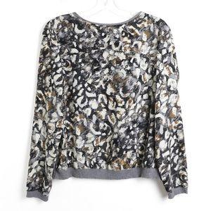 Zara leopard animal print mixed fabric pullover M